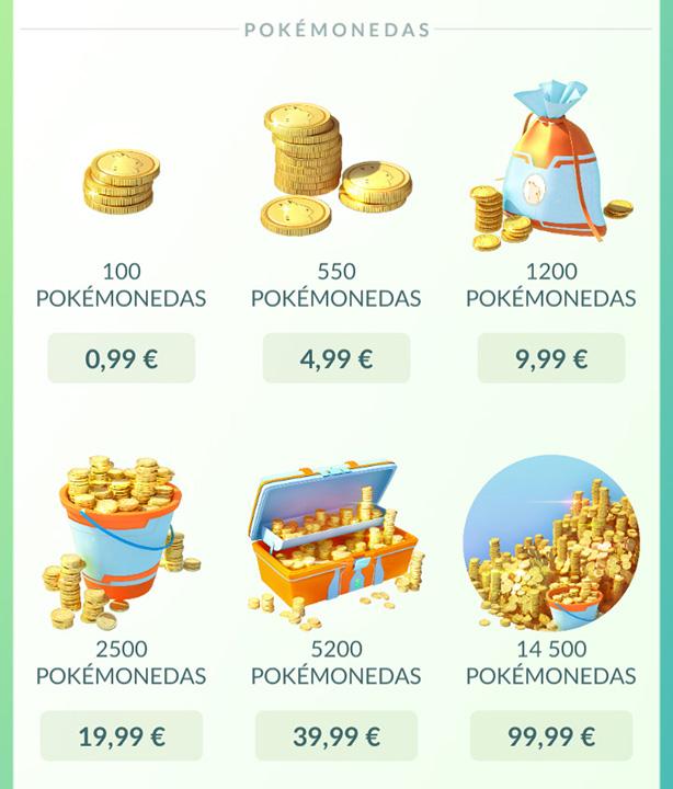 Lotes de pokemonedas disponibles en la tienda integrada en el juego