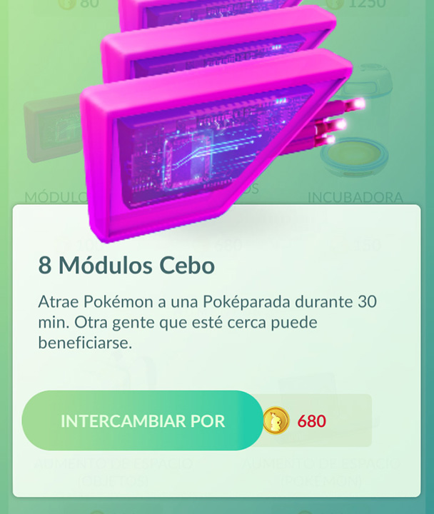 8 Módulos Cebo cuestan 680 pokemonedas