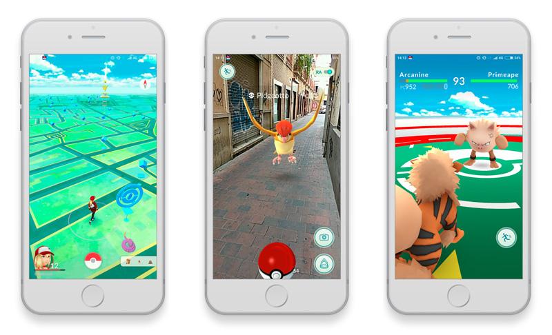 Diferentes pantallas de Pokémon GO